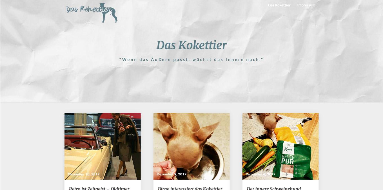"""Unterschiedliche Beiträge des Blogs """"Das Kokettier""""."""