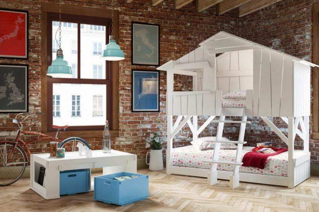 Etagenbett mal anders: Dieses Doppelstockbett ist für zwei Kinder eine traumhafte Schlafstätte oder für eines ein luxuriöses Baumhaus zum Zurückziehen.