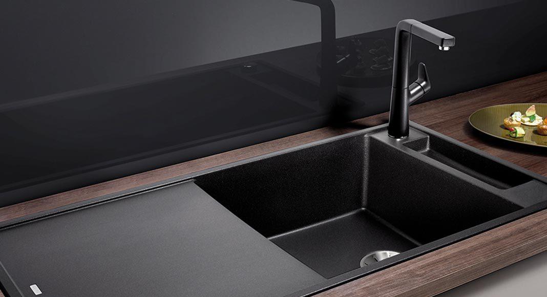 Silgranit-Becken mit mattschwarzer Optik