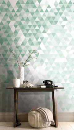 Viele Dreiecke sorgen für eine ausgefallene Wandgestaltung