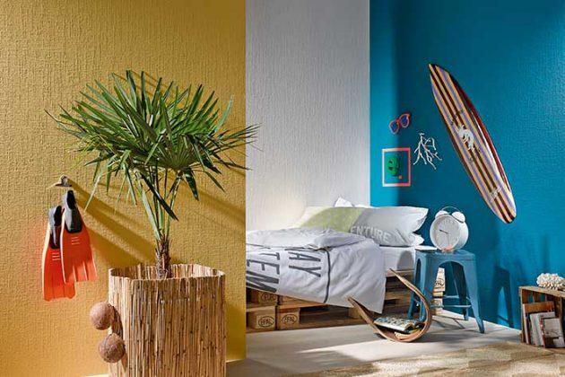 Stilvolles Jugendzimmer in knalligen Farben