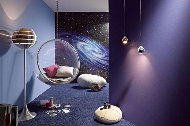 Wandtapete im modernen Weltall-Design