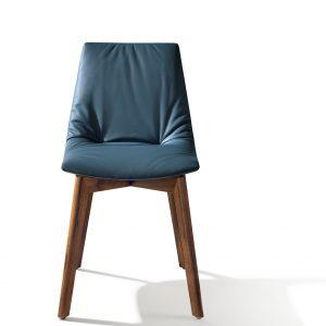 Der Designstuhl lui mit hochwertiger blauer Lederpolsteurng