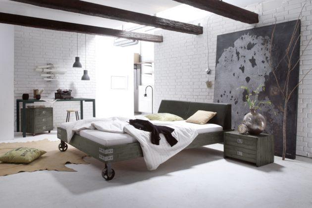Designbett im industriellen Stil