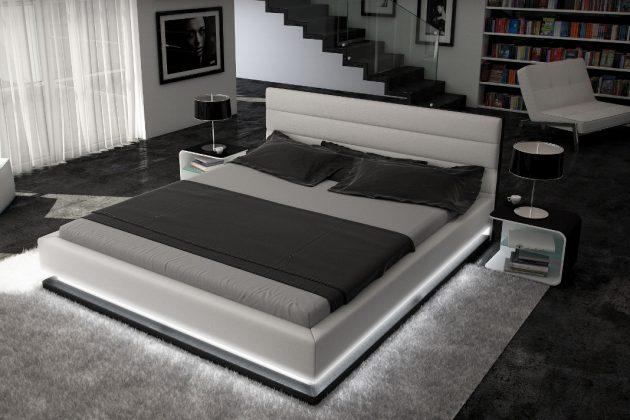 modernes Designbett mit LEDs