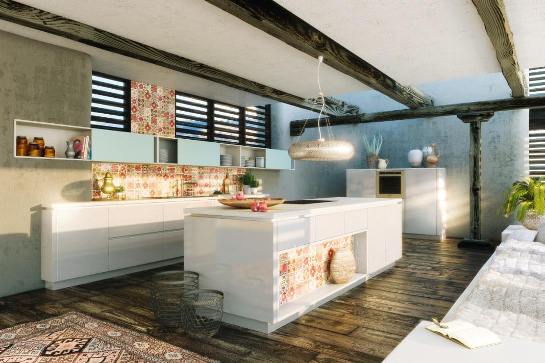 moderne Wohnküche mit Holz