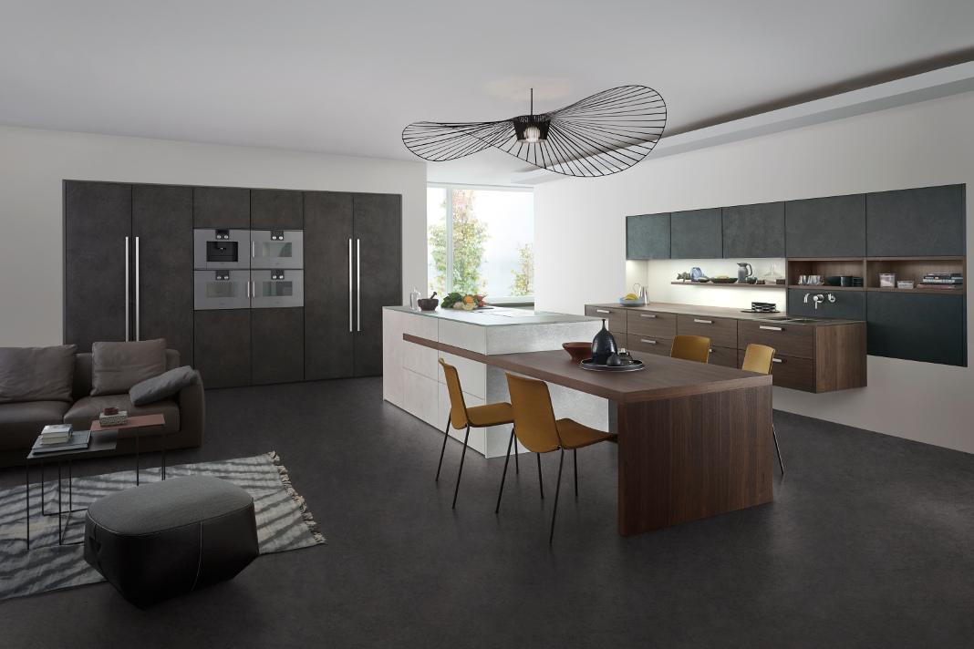 junge Küche aus Beton und Holz