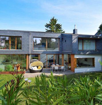 Gartenansicht Neubau mit Schiefer - Rathscheck Schiefer