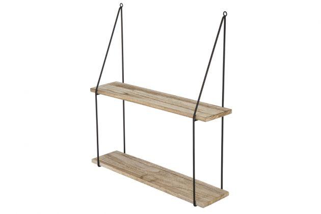 Das Wandregal in Kombination aus Metall und Holz.
