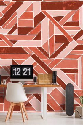 Verspieltes Muster an Kinderzimmerwand Pantone Farbe 2019