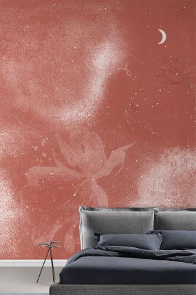 Mondhimmel im Schlafzimmer in Pantone Farbe 2019 Living Coral