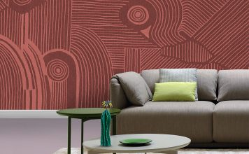 Wohnzimmerwand in Pantone Farbe 2019 Living Coral