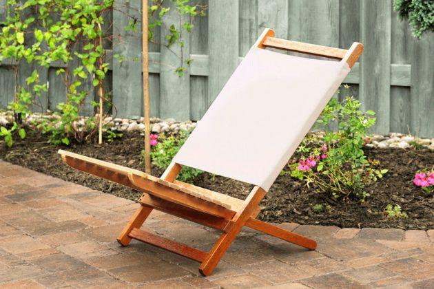 Das Holzöl kann auch bei diesem Klappstuhl aus Holz verwendet werden.