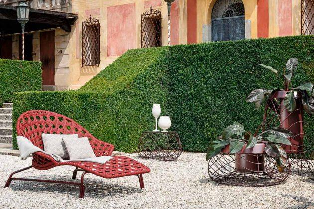 Moderne Gartenliege aus Aluminium und Textil