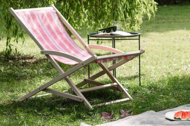 Liegestuhl aus Holz und Baumwolle mit Schaukelfunktion