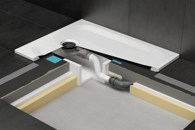 Installationsbox bei flachen und superflachen Duschen