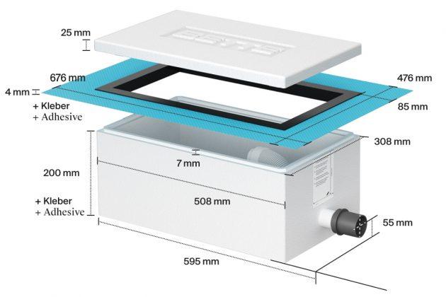 Maßen der Installationsbox Easy Connect