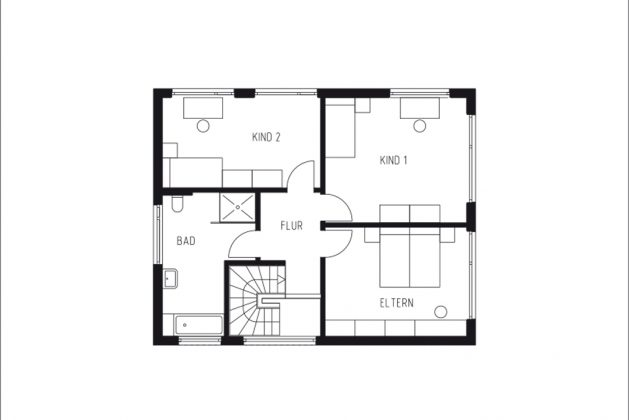 Grundriss Obergeschoss - Entwurf zum Bauhausjubiläum - GUSSEK HAUS