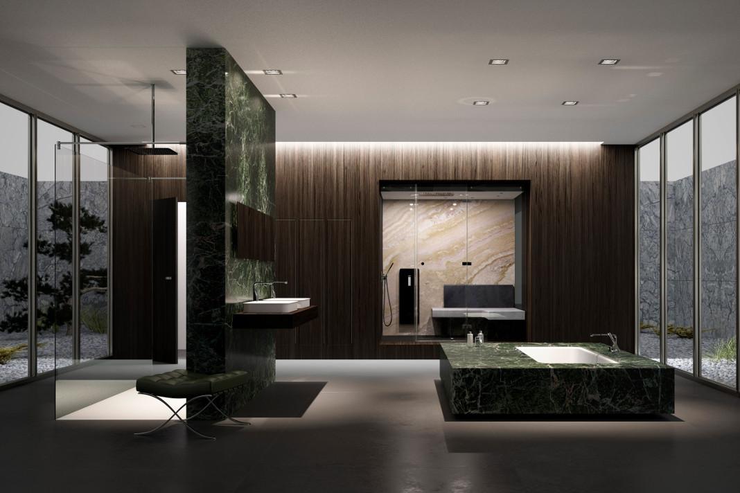 luxuriöses Wellness-Bad, inspiriert vom Architekten Mies van der Rohe