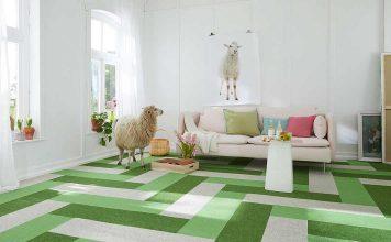 Grüner Teppichboden aus Kaschmir-Ziegenhaar mit einer Kaschmir-Ziege im Wohnzimmer