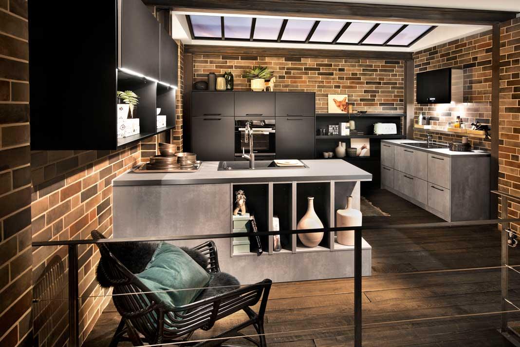 Küche im Industrial-Stil mit Fronten aus Beton bzw. in Beton Optik.