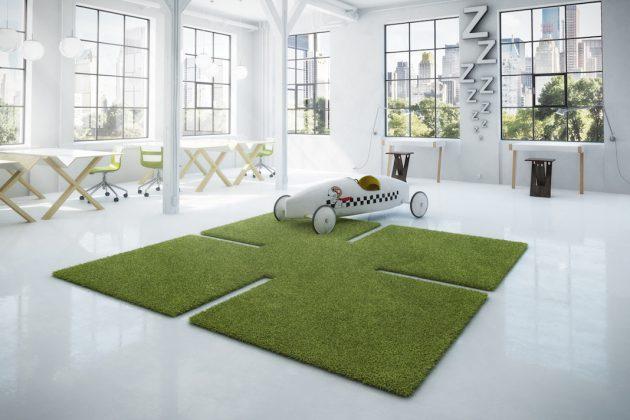 Verspielter Teppich in Grün