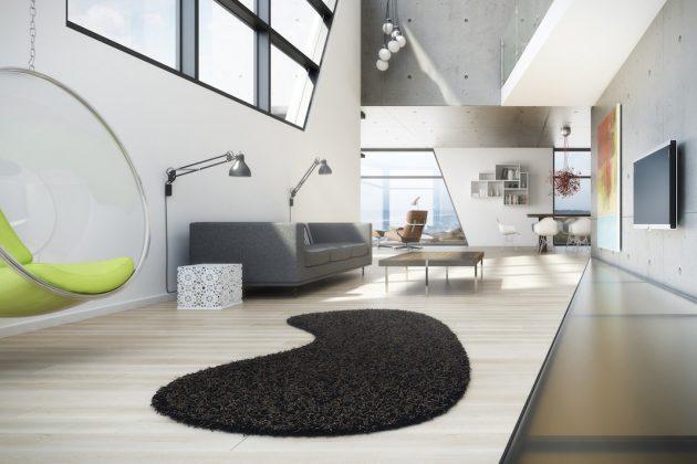 Moderner Teppich in Schwarz in einer Lounge.