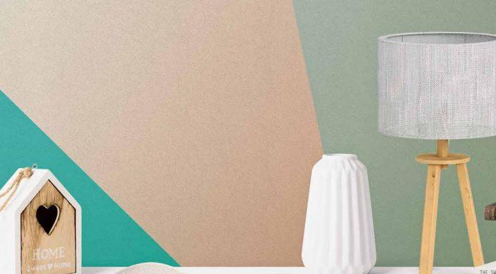 Moderne Wandgestaltung mit Vliesfasertapete und Farbe.