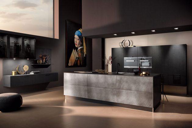 Küchen in der Farbe Vulkaneiche mit Industriestahl liegen im Trend.