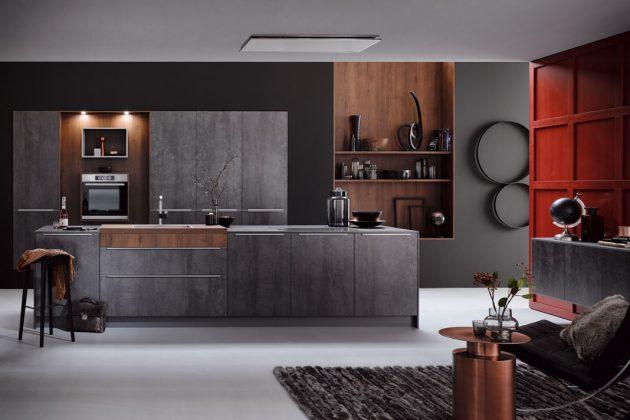 Küchen in schwarz in Kombination mit dunklem Holz ganz im Sinne der Trends 2019