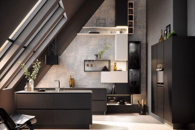 Schwarze Küchen sind einer der Küchentrends 2019 und bilden einen schönen Kontrast zu hellen Wänden.