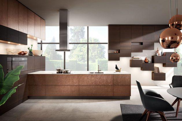 Küchen in Bronze mit Dekorationen in Bronze.