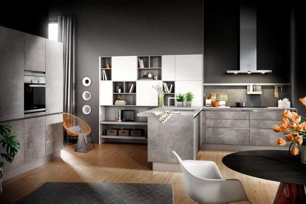 Küche mit Fronten in Beton Design