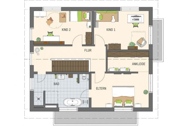 Grundriss Dachgeschoss im Musterhaus mit Smart-Home-Technik - FingerHaus