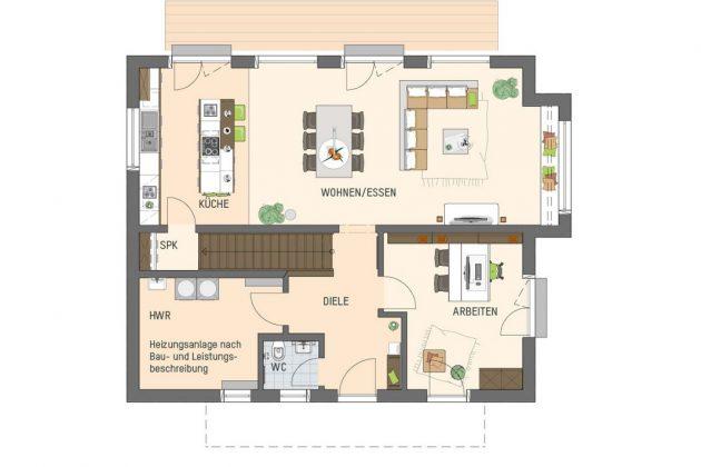Grundriss Erdgeschoss im Musterhaus mit Smart-Home-Technik - FingerHaus