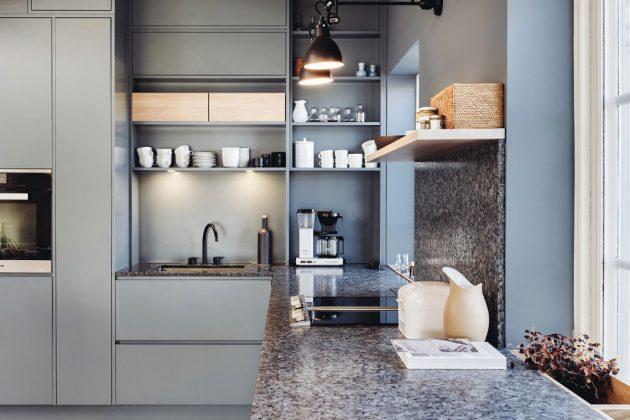 Natürliche Küchenarbeitsplatten in einer stylischen Küche - Modell Lundhs Royal