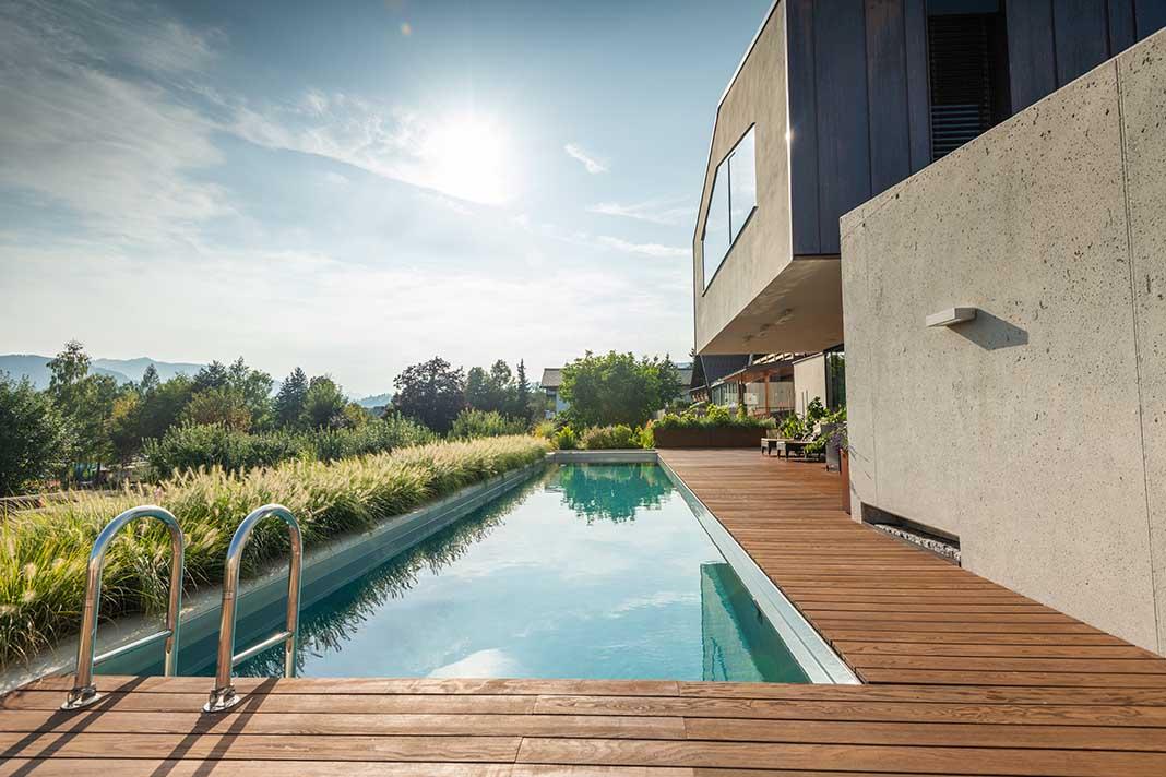 Naturpool im Garten eines modernen Einfamilienhauses