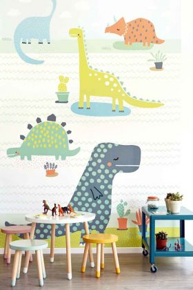 Kindertapete mit Dinosauriern