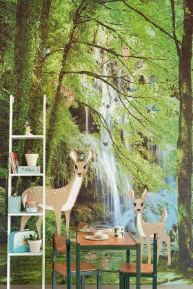 Kindertapete mit Rehen im Wald