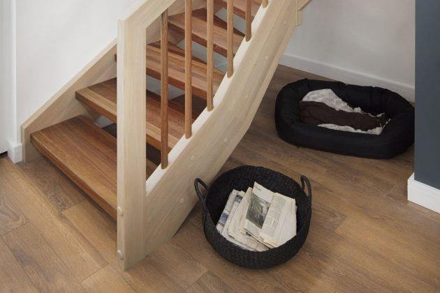 Ideen für den Flur: Stauraum unter der Treppe