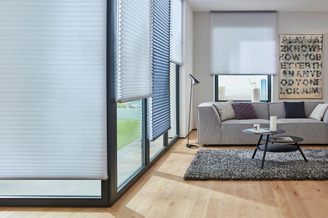 Effektiver Sichtschutz kombiniert aus verschiedenen Blautönen.