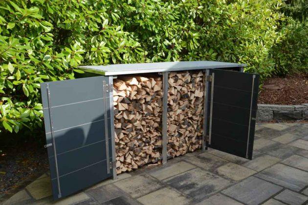 Kleines Design Gartenhaus zur Lagerung von Brennholz
