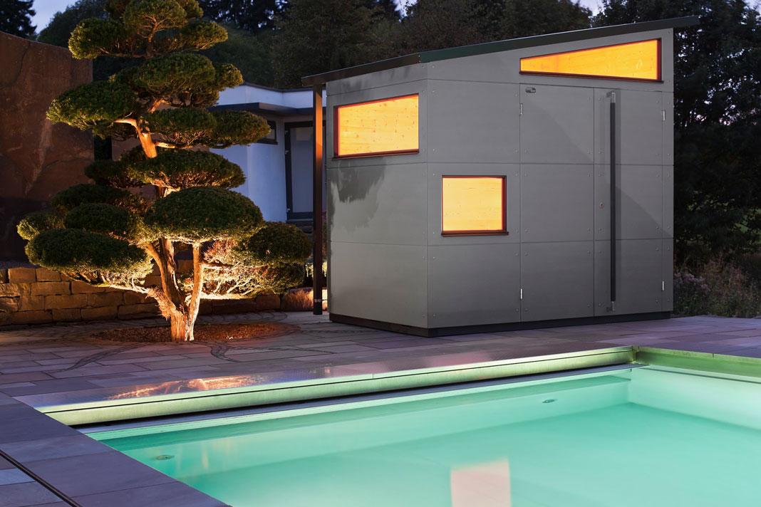 Design Gartenhaus mit Fenstern