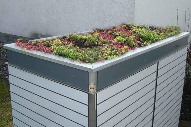 Design Gartenhaus mit Beet auf dem Dach