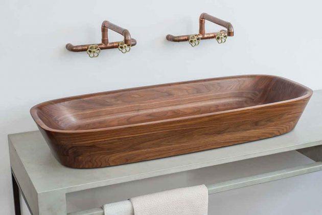 Holzwaschbecken für zwei Personen