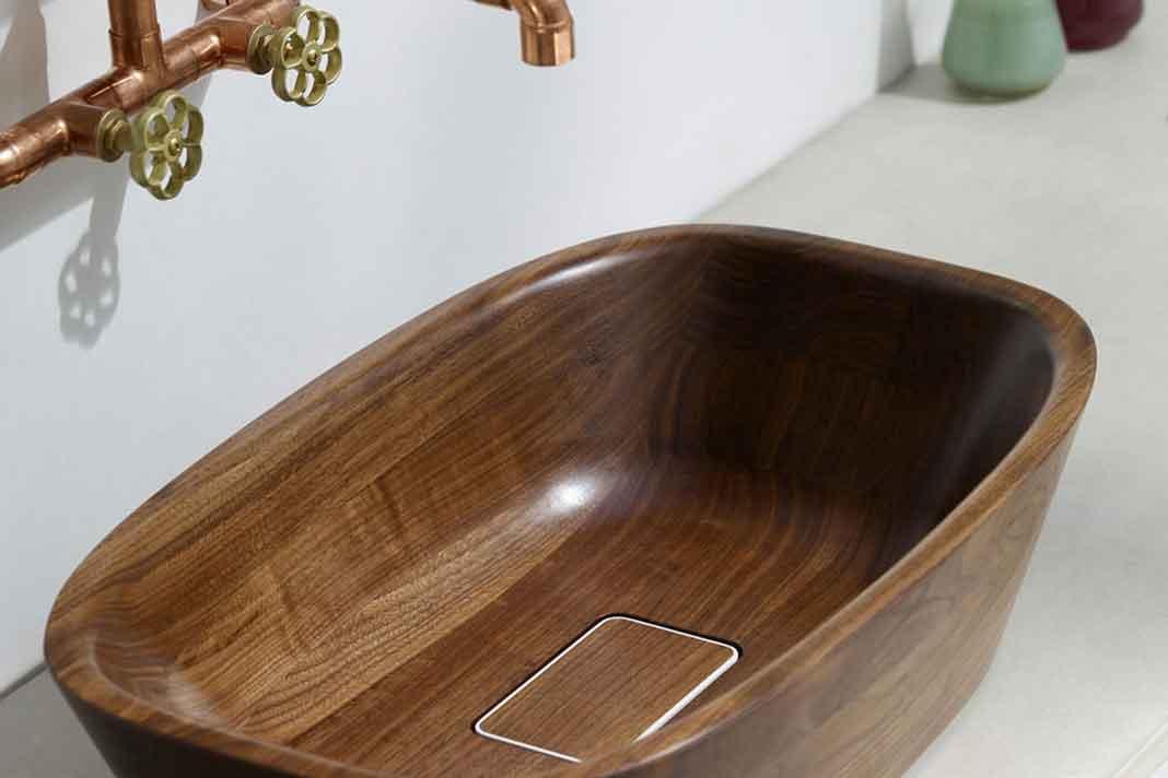 Hochwertiges Waschbecken aus Holz