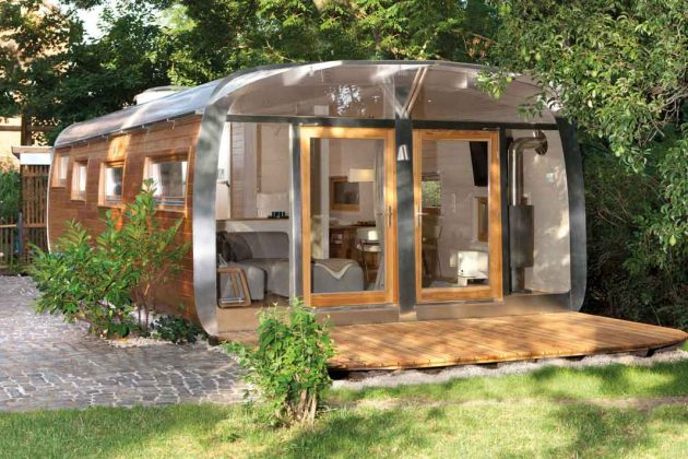 Moderne Gartenhäuser sind manchmal auch Wagons