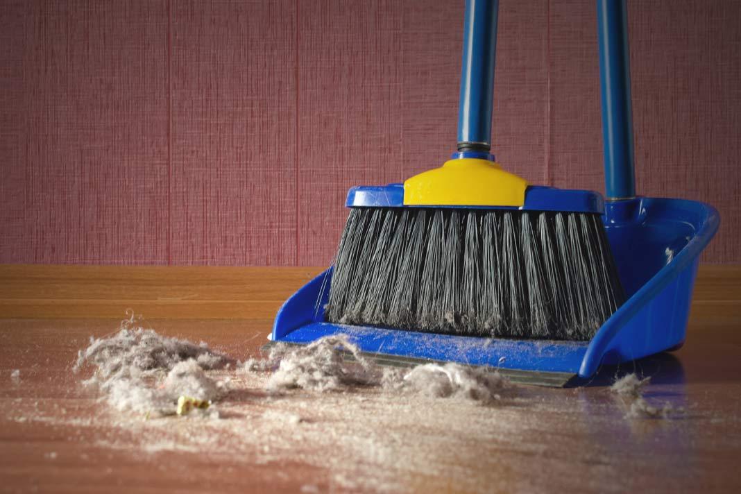 Schaufel und Besen entfernen Hausstaub