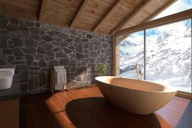Badewanne aus hellem Holz
