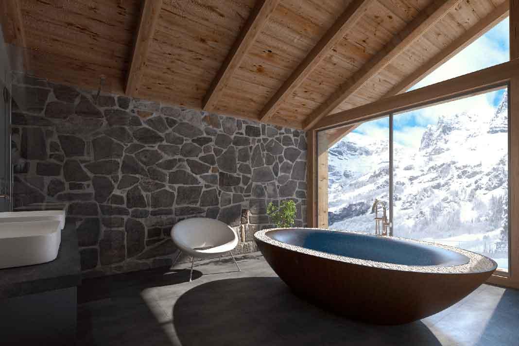 Badewanne aus Holz mit Überlauf